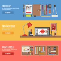 Ensemble de bannières d'outils de peintre et de concepteur