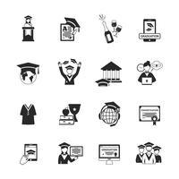 icônes de graduation noir vecteur