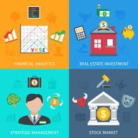 Set d'investissement plat vecteur
