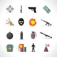Ensemble d'icônes de terrorisme vecteur