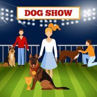 Personnes Wigh Dogs Poster vecteur