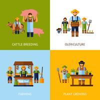 Concept de design des agriculteurs vecteur
