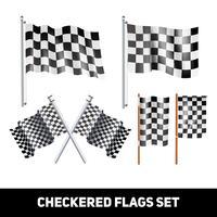 Jeu d'icônes décorative de drapeaux à damier