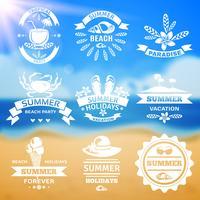 Jeu d'étiquettes emblèmes vacances été typographie