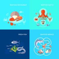 Fruits de mer icône plate