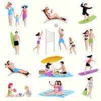 Gens sur les icônes de la plage