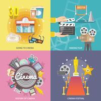 Composition carrée de cinéma 4 icônes plat vecteur