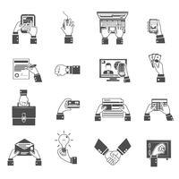 icônes de mains d'affaires noir vecteur