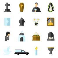 ensemble d'icônes plat funérailles vecteur