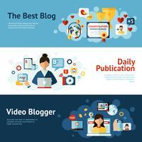 Ensemble de bannières Blogger vecteur
