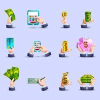 Ensemble d'icônes plat paiement mains vecteur