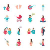 Icônes de grossesse plat
