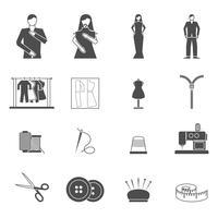 Jeu d'icônes des outils de créateur de mode