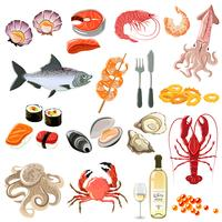 Fruits de mer Icons Set