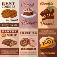 Ensemble d'affiches de pâtisserie vecteur