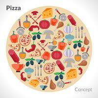 concept de cercle de pizza vecteur