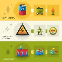 Ensemble de bannières Ressources énergétiques et contrôle