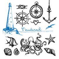 Ensemble dessiné à la main nautique