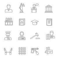 Justice Outline Icon Set vecteur