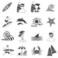 Icônes de surf noir