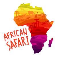Silhouettes d'animaux d'Afrique au coucher du soleil vecteur