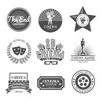 Collection d'étiquettes de cinéma noir vecteur