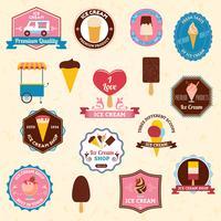 Ensemble d'emblèmes de crème glacée vecteur