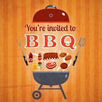 Affiche publicitaire pour une invitation au barbecue vecteur