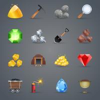 Icônes de jeu minier vecteur