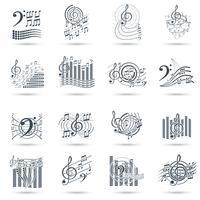 Notes de musique noir jeu d'icônes vecteur