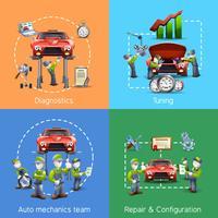 Bannière carrée 4 icônes mecanicien auto