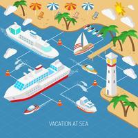 Concept de vacances à la mer et de navires