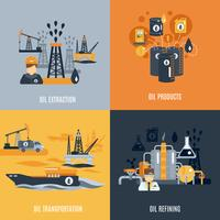 Icône plate de l'industrie pétrolière