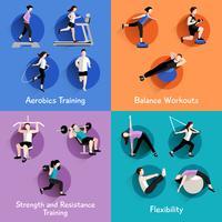 Bannière carrée 4 icônes plat Fitness