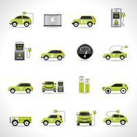 Icônes de voitures électriques vecteur