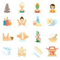 icônes de spa plat