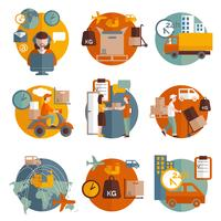 Ensemble d'icônes de concept logistique vecteur