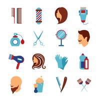 Barbershop salon de coiffure plat icônes définies