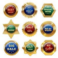 Etiquettes de vente dorées vecteur