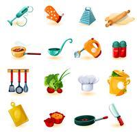 Jeu d'icônes de cuisine vecteur