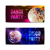 bannières de soirée disco horizontales vecteur