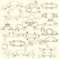 Ensemble de rubans dessinés à la main