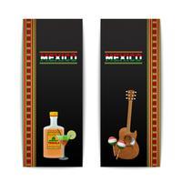 Bannières mexicaines verticales vecteur