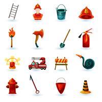 Jeu d'icônes de pompier vecteur