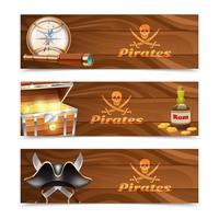 Trois bannières de pirate horizontales vecteur