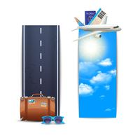 Bannières de voyage verticales vecteur