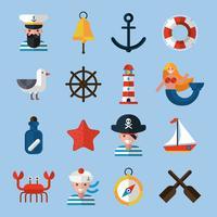 Set d'icônes nautiques vecteur