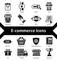 icônes de commerce électronique noir vecteur