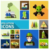 jeu d'icônes de la pollution vecteur