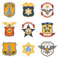 Insignes de police colorés vecteur